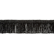 5.1cm Metallic Chainette Fringe Trim Black Fabric By The Yard