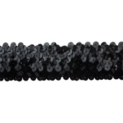 Sequin Trim 3.8cm Wide Polyester Stretchable Sequin Trim Rolls for Arts and Crafts, 10-Yard, Black