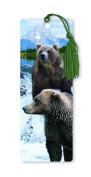 Dimension 9 3D Lenticular Bookmark with Tassel, Grizzly Bears Featuring Lake and Snowy Mountains