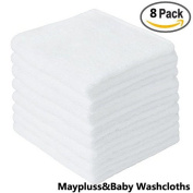 Maypluss 8 pack Organic Bamboo Baby washcloths in 25cm x 25cm inch Premium Extra Soft Towels for Baby Shower