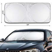 IC ICLOVER Car Window Shade Sunshade Jumbo-Shields Vehicle From Sun-Keep Cool-Easy Convenient to Use-For Front Windshields-Pop Up Style UV Protector - Retractable Folding Outdoor Car Windshield Blinds