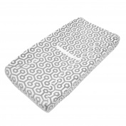 TL Care Heavenly Soft Chenille Fitted Contoured Changing Pad Cover, Grey Honeycomb