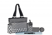 SoHo Collection, Classic Black & White Dot 7 pieces Nappy Tote Bag Set
