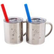 Housavvy Rabbit Stainless Steel Kids Cups with Lids and Straws, 2 PACK