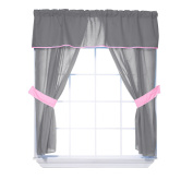 Baby Doll Bedding Reversible 5-Piece Window Valance Curtain Set, Grey/Pink