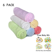 Theshine Baby Washcloths baby towel Wipes Bamboo Fibre Baby Bathing Towel Children's Bamboo Washcloth Baby Scarf 6 Pack