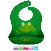 Soft, 100% Food Grade Silicone Frog Bib with Food Catcher for Babies and Toddlers -FDA approved, BPA/LEAD/PVC Free, Unisex Design, Waterproof, Stain Resistant, Easy Clean, Cute Baby Shower Gift!
