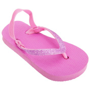 FLOSO® Childrens Girls Plain Toe Post Flip Flops With Glitter Strap
