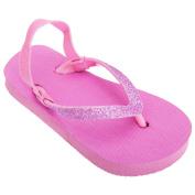 FLOSO® Childrens Girls Plain Toe Post Flip Flops With Glitter Strap