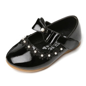 Lisianthus002 Kids Mary Jane Bow Pearls Flat Girls Velcro School Shoes