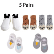 5 pairs Unisex Cute Cotton Toddler Socks Children Cotton Crew Socks Anti-Slip Grip Soles Cozyk,0-2 years,2-4 years