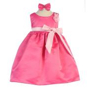 Baby Girls Pink Fuchsia Sash Dull Satin Flower Girl Headband Dress 6-24M
