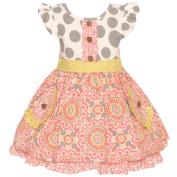 Counting Daisies Baby Girls Grey Coral Polka Dot Art Deco Printed Dress 12-24M
