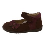 L'Amour Baby Girls Brown Nubuck Upper Flower Bow Mary Jane Shoes 3-4 Baby