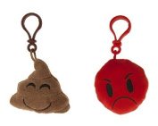 """Icons - Pack includes two key rings 3,5""""/8cm Emoticon Smiley - Poop brown smile + red angry - Quality super soft"""