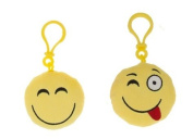 "Icons - Pack includes two key rings 3,5""/8cm Emoticon Smiley - yellow smile + yellow tongue out - Quality super soft"