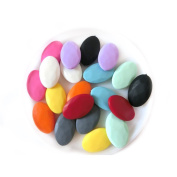 Coskiss Mixed Colour 100pcs Baby Silicone teether Rectangle Oval Flat Chips Jewellery Unfinished Beads Fashion Chips DIY Accessories