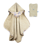 Glorious Lou 100% Cotton XL Hooded Towel - 90 x 120 cm - Collection Pepper - Beige - with cute wash cloth!