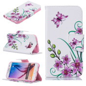 Samsung Galaxy S6 Wallet case,Galaxy S6 Flip Case,Tebeyy Premium Flower Animal Cartoon Pattern PU Leather Wallet Case Cover Pouch [Magnetic Closure] with Card Slots for Samsung Galaxy S6,Kickstand,Credit Card Holder,Book Style Flip Wallet with 1 x Scre ..