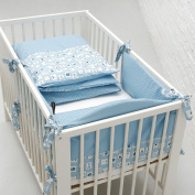 Motherhood 5901323924484 4in1 Children's Bed Linen From Motherhood Baby Cot Bumper, Duvet Cover, Cushion Cover, Retro Boy Waterproof Bed Pad