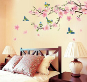 Pink Peach Blossom Flowers Wall Sticker House Decal Removable Living Room Wallpaper Bedroom Kitchen Art Picture PVC Murals Sticks Window Door Decoration + 3D Frog Car Sticker Gift