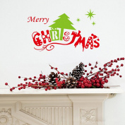 Coribe Merry Christmas the Christmas Tree Removable Vinyl Wall Decal Stickers for Living Room Store Bedroom Living Room Hallway Kids Nursery