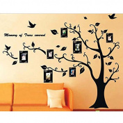 Coribe Black Photo Family Tree Three Generations Removablen included On The Tree Branches And Soaring Birds Wall Stickers for Kids Bedroom Family Room Kitchen Decoration
