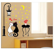 Coribe Cute black and white Cat Lovers Under The Street Light Wall Decals, Living Room Bedroom Removable Wall Stickers Murals