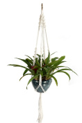 Pggpo 4 Leg Macrame White Linen Plant Hanger Rope With Silver Ring 120cm