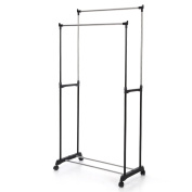 IKAYAA Garment Rack Clothes Hanging Rail Stand with Wheels