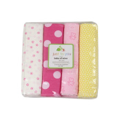 Harson & Jane Premium Quality 100% Cotton Prints Soft and Cosy Baby Blankets 4 Pack 30×30 inch