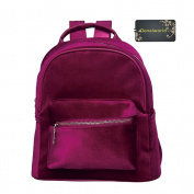 Donalworld Girl Cute Velvet Backpack Casual Zipper Solid Bags Large Red1
