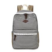 JSbetter Stripe Canvas Backpack,Lady Girls Canvas Navy Backpack Laptop Bag Shoulder Daypack School Backpack Causal Handbag Travel Bag for Teens Girls Boys,Black