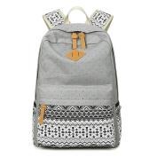 JSbetter Canvas Backpack,Ethnic Boho Style Polka Dots Canvas Laptop Backpack School Bag Daypacks Travelling Camping Rucksack Grey