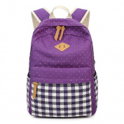 JSbetter Canvas Backpack,Ethnic Vintage Stylish Polka Dots Ladies Causal Canvas Backpack for Women Fashion Laptop School Backpack for Teenage Girls,Purple
