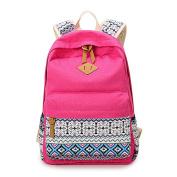 JSbetter Canvas Backpack,Polka Dot Cute Lightweight Canvas Casual Daypack School Backpack Shoulder Bag Travel College Backpacks Pink