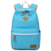 JSbetter Girl's Canvas Backpack,Fashion Lace Dot Teens School Backpack with Great Capacity Lightweight Vintage Cute Daypacks Backpack for School Travel Outdoor Laptop Rucksack University Bag,Light Blue