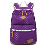 JSbetter Girl's Canvas Backpack,Fashion Lace Dot Teens School Backpack with Great Capacity Lightweight Vintage Cute Daypacks Backpack for School Travel Outdoor Laptop Rucksack University Bag,Purple
