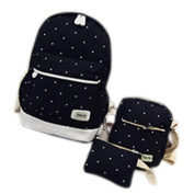 Remeehi Fashion Dot Pattern Canvas Rucksack Teenage Girls School Bag 37cm Laptop Backpack + Messenger Bag + Purse