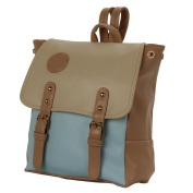 Korean Style PU Leather Backpack Handbag Blue