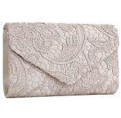 Clorislove Ladies Satin Lace Envelope Clutch Bag Evening Bridal Wedding Handbag Prom Bag