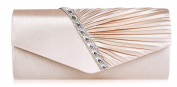 MooLee SATIN BRIDAL CRYSTAL DIAMANTES PLEATED EVENING PARTY WEDDING CLUTCH BAG PROM ENVELOPE-9 colours