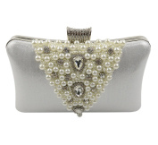 Tina Women's Shimmering Beaded Rhinestone Pearl Evening Clutch Party Handbag Purse