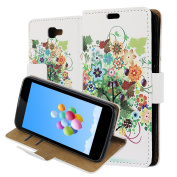 LG K4 Case Cover, ZXK CO PU Leather Flip Wallet Phone Case Soft TPU Inner Backover Case for LG K5 Bookstyle Protective Phone Skin With Phone Holder Credit Card Slot Circular Buckle - Colourful Wishing Tree