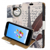 LG K4 Case Cover, ZXK CO PU Leather Flip Wallet Phone Case Soft TPU Inner Backover Case for LG K4 Bookstyle Protective Phone Skin With Phone Holder Credit Card Slot Circular Buckle - Retro Feather Eiffel Tower White