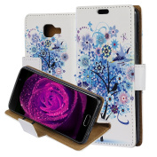 Galaxy A310(2016) Case Cover, ZXK CO PU Leather Flip Wallet Phone Case Soft TPU Inner Backover Case for Samsung Galaxy A310 2016 Bookstyle Protective Phone Skin With Phone Holder Credit Card Slot Circular Buckle - Colourful Wishing Tree