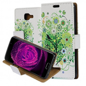 Galaxy A310(2016) Case Cover, ZXK CO PU Leather Flip Wallet Phone Case Soft TPU Inner Backover Case for Samsung Galaxy A310 2016 Bookstyle Protective Phone Skin With Phone Holder Credit Card Slot Circular Buckle -Green Tree Birdcage Bird