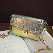 Bling Bling Crocodile Grain Shoulder Bag - Holographic Snakeskin Pattern Small Square Bags with Chain Strap and Metal Magnetic Button for Woman