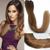 36cm 9 Pieces 120g/set Human Hair Clip in Extensions Balayage Ombre Chestnut Brown to Warm Blonde with Golden Blonde Highlighted