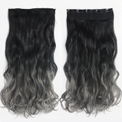 """24"""" (60cm) 130G Natural Black to Dark Grey 2-tone Ombre Colour Curly Clip in Hair Extensions One Piece 5Clips for a Full Head"""